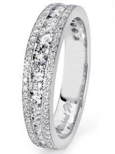 The beautiful diamond-encrusted Michael M wedding band from Bridal Look #8: Glamour. Style#R404B