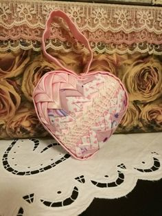 Check out this item in my Etsy shop https://www.etsy.com/listing/509308303/pink-satin-and-lace-quilted-ornament