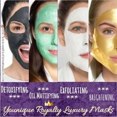 Younique Royalty Luxury Masks: NEW Brightening, Exfoliating, Oil Control, Detoxifying Treat your skin like ROYALTY Whitening Face, Christmas Makeup, Peeling, Skin Brightening, Natural Makeup, Simple Makeup, Natural Beauty, Make Up, Oil Control