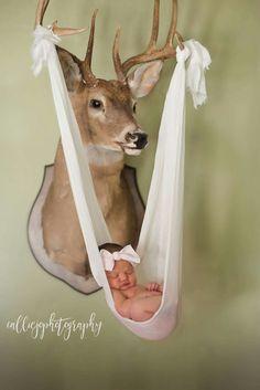 Deer head baby photo