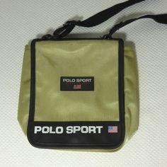 Vtg Gold Polo Sport Spelled Out Ralph Lauren Crossbody Flap Purse Handbag 830b89bc68e01