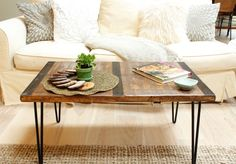 diy reclaimed wood coffee table with inlaid metal and hairpin legs, painted furniture