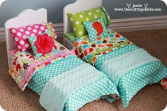 {Adorable Doll Bed & Bedding} bedding, doll beds, wood, american dolls, baby dolls, ag dolls, homemade dolls, doll houses, american girls