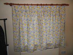 Pair Long Vintage Damask Curtains Charles Rennie Mackintosh Design Ivory Green