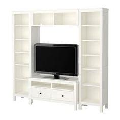 "HEMNES TV storage combination, white Width: 81 7/8 "" Max. depth: 18 1/2 "" Height: 77 1/2 "" Width: 208 cm Max. depth: 47 cm Height: 197 cm"