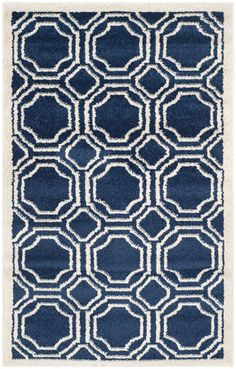Dining Room Rug Ideas. Love the abstract shapes & Navy Blue