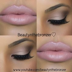 Natural subtle smokey eye with pink frosty pouty lips...I want this lipstick!!!