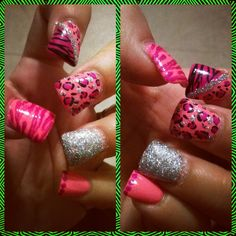 Leopard and zebra bling nail art