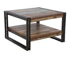 Tavolino basso doppio ripiano in legno riciclato e ferro Carribean, 60x40x60 cm