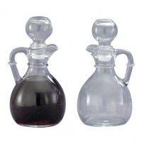 Glass Cruets Pair  6 Oz Bottles