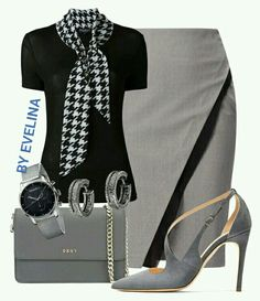 A fashion look from September 2016 featuring pattern shirt, grey pencil skirt and strappy pumps. Browse and shop related looks. Pretty Outfits, Cool Outfits, Fashion Outfits, Womens Fashion, Fashion Sets, Office Outfits, Office Attire, Grey Outfit, Team Apparel