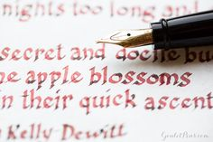This fountain pen lets you create gorgeous lettering and shading! Use an Aurora Ipsilon in Bordeaux fountain pen and Robert Oster Astorquiza Rot stunning lettering. Pin for later.