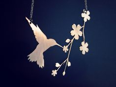 Silver bird necklace - whimsical hummingbird necklace - cherry blossoms - wedding jewelry. $40.00, via Etsy.