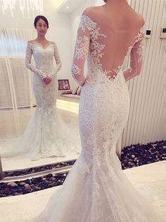Charming Off The Shoulder Backless Long Sleeves Mermaid Wedding Dress