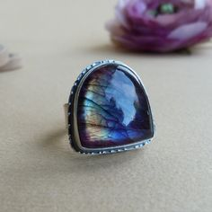 Labradorite Ring in Oxidized Sterling Silver $105.00