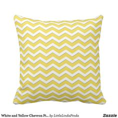 White and Yellow Chevron Pillow or Your Colors - white gifts elegant diy gift ideas Chevron Pillow, Custom Printed Fabric, Yellow Chevron, Decorative Throw Pillows, Create Yourself, Colors, Prints, Diy, Change