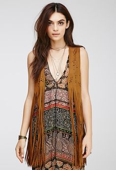 Forever 21 Perforated Faux Suede Fringed Vest Camel
