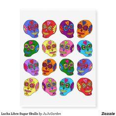 Lucha Libre Sugar Skulls Temporary Tattoos at Zazzle