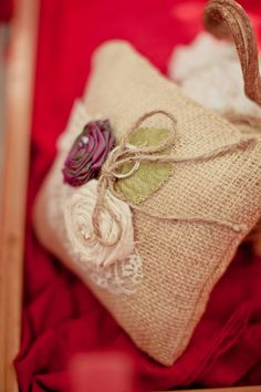 Rustic Ring Bearer Pillow. Its even the right colors