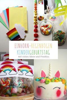 Viele bunte Ideen für einen Einhorn-Regenbogen-Kindergeburtstag mit kostenlosen Druckvorlagen für Einladung und Deko
