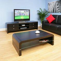 Coffee Table Rectangular Black Oak Modern Glass Shelf Quality 690A - Quatropi
