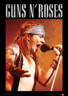 Guns N Roses (Axl) Music Poster People Masterprint - 30 x 40 cm Guns N Roses, Axl Rose, Chicano, Hard Rock, Legend Music, Vintage Music Posters, Welcome To The Jungle, Rock Legends, Motivational Words