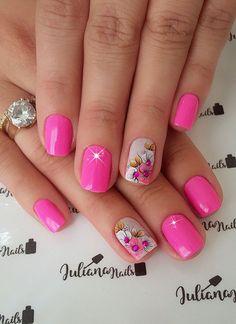 As unhas decoradas estão super na moda, mas infelizmente não são todas as mulheres que tem tempo de ir ao salão ou habilidade em manicure para aderir a elas, ficando a opção de recorrer aos adesivos de unhas. As unhas com adesivos já caíram no gosto feminino, pois, os adesivos de unhas são práticos e… Manicure Nail Designs, Pink Nail Designs, Nail Designs Spring, Nail Manicure, Toe Nails, Pedicure, Cute Pink Nails, Pretty Nails, Finger Nail Art