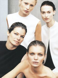 Donna Karan Fall/Wint 1999 - Cordula Reyer, Kirsty Hume, Esther Canadas & Sylvia Van Der Klooster by Peter Lindbergh Donna Karan, Peter Lindbergh, Portrait Poses, Female Portrait, Kirsty Hume, Gwen Stefani Style, 90s Models, Cover Model, Style And Grace