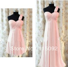 peach color bridesmaid bridemaid one shoulder chiffon dress modest bridemaids bridesmaids' short knee-length dresses 2013 W198 $27.00 - 37.00