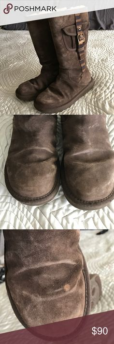 Ugg Retro Cargo boots model 1895 Color is espreso. Worn. Super cute boots that received lots of compliments. Fur on inside still very fluffy and lots of life left. Right boot has small stain. Both boots have wear on top of toes. Otherwise suede is still beautiful. UGG Shoes Winter & Rain Boots