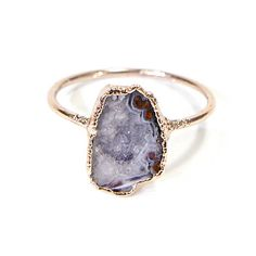 Tiny Geode Ring Gift For Her Crystal Ring Gifts Raw Stone Ring