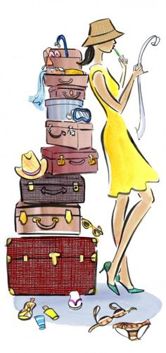 Best Checklist Travel Holiday Packing》totally me, and probably most women out there.unless there's a secret I don't know about ♡ -Read Illustration Mode, Travel Illustration, Arte Fashion, Buch Design, Design Design, Paris Mode, Art Plastique, Fashion Sketches, Fashion Illustrations