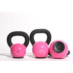 Pink kettlebell set.