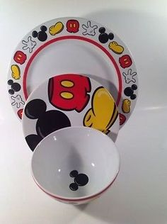 Mickey Mouse Body Parts Disney Dinner Plate Salad Plate Soup Bowl Set Of 3 & Disney Ceramic Mickey Body Parts Dish With Lid (Dog Bowl) New ...