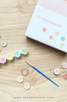 What a great idea!  The perfect gift for a girlfriend.  It comes with three sets of hoops and leather discs to paint on.  You can choose from three different paint palettes too.    #diykit #diyearringkit #diyjewelrykit  #paintingkit #craftkit #jewelrymakingkit #jewelrykit #diykits #partykit