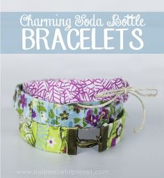 These bracelets are indeed charming! Hidden inside each one is a soda bottle! Well not the full bottle, but a strip from it anyway. It's a perfect way to upcycle and create a lovely piece of jewelry. Make them any width, style or color.  All it takes is some material scraps… and I do mean scraps, and some glue. Only takes a few minutes to make each one so go nuts!