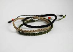 Surf Bracelets / Bracelet for Him / Black Army by UtilartMacrame