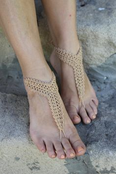 Beach wedding shoes Crochet Barefoot Sandals Foot by craftbyaga