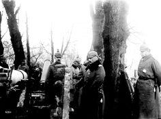 El Kaiser Guillermo II recorre el victorioso campo de batalla de Cambrai. Observa con detenimiento un cañón británico capturado