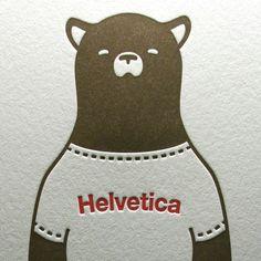 Helvetica Bear Letterpress Print in Brown/Red
