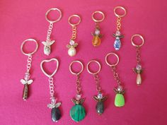 Angel Keychains assorted colors basic colors by cyndeestrinkets, $3.00