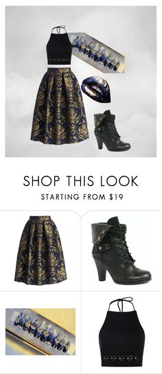 """""""Her Head in The Clouds"""" by haylee-rose999 ❤ liked on Polyvore featuring Chicwish, Boohoo, gold, black and Blue"""