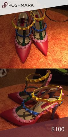 Fashion pumps❤️ Inspired by Valentino. Studded pumps with color combination of blue, green, yellow, red, and pink. Worn once only. Pointed toe. Shoes Heels