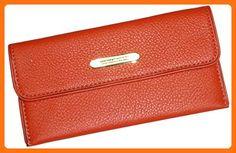 Women's Michael Kors Austin Flat Continental Leather Wallet Burnt Orange - Wallets (*Amazon Partner-Link)