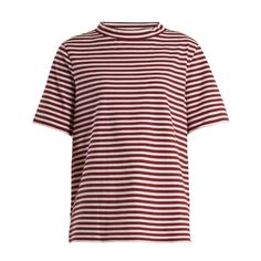 M.i.h Jeans Penny striped cotton-jersey T-shirt (6.350 RUB) ❤ liked on Polyvore featuring tops, t-shirts, red stripe, loose t shirt, camo t shirt, long short sleeve t shirts, long tee and camouflage t shirt