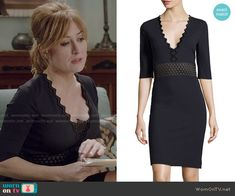 Maura's navy zig zag trim dress on Rizzoli and Isles.  Outfit Details: http://wornontv.net/50787/ #RizzoliandIsles