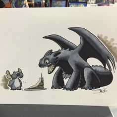 Thanks for another great Comic Con. Time to celebrate! #stitch #toothless #howtotrainyourdragon #commission #sdcc