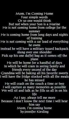 Mom, I'm coming home. I can't wait to hear those words! Marine Mom Quotes, Usmc Quotes, Military Quotes, Military Girlfriend, Military Mom, Military Deployment, Military Homecoming, Mom Quotes From Daughter, Im Coming Home