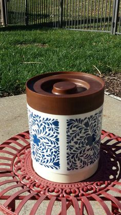 A personal favorite from my Etsy shop https://www.etsy.com/listing/478283632/alladinware-floral-canister-with-faux