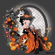 Betty Boop Doll, Betty Boop Halloween, Betty Boop Cartoon, Halloween Cat, Halloween Nails, Happy Halloween, Imagenes Betty Boop, Pumpkin Song, Disney World Halloween